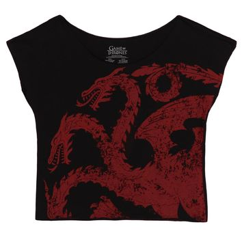 Game of Thrones House Targaryen Sigil Licensed Womens Junior Dolman Shirt