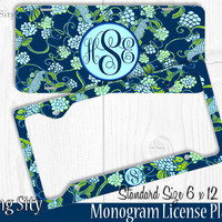 Mint Koi Fish Monogram License Plate Frame Holder Metal Wall Sign Tags Personalized Custom Vanity Plate