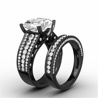 3.2 CT Black Wedding Engagement Ring Band Princess Cut CZ Halo Bridal 2-Piece Turkish Set Ring In 10KT Black Gold Filled GTLJ196 Alternative Measures