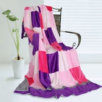 Onitiva Plaids Purple & Pink Soft Coral Fleece Patchwork Throw Blanket in 59 by 78.7 inches
