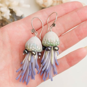 Dangle earrings/Summer earrings/Beach jewelry/ Ocean jewelry/ Polymer clay jewelry/ Pearls earrings/ Jellyfish earrings/ Seashell earrings