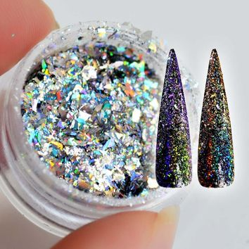 Laser Yucca Flakes for Nails Sequins Holographic Glitter Powder Galaxy Holo Nail Bling Rainbow Nail Art Paillettes SF2010