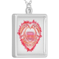 Tattered Heart Silver Plated Necklace