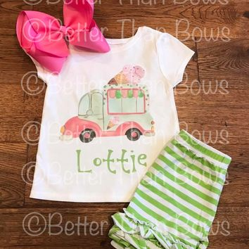 Retro Personalized Ice Cream Truck 2pc Set with Option To Buy Separates Semi RTS