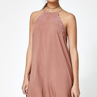 Goddess Neck Embroidered Shift Dress