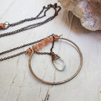 Framed moonstone drop necklace, sunstone rondelles, hammered oxidized brass ooak artisan jewelry, wire wrapped briolette, geometric boho
