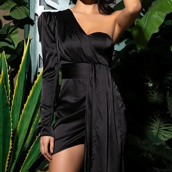 Don't Panic Black Satin One Long Sleeve Puff Shoulder Asymmetric Drape Sash Bodycon Mini Dress