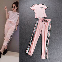 Pink Letter Print Short Sleeves Top  Elastic Drawstring Joggers