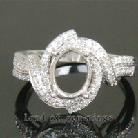 Unique 7x9mm Oval Engagement Semi Mount Ring in 14K White Gold .41CT Diamonds