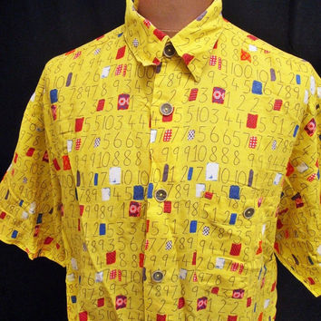 Vintage 80s Shirt Crazy Print Counting Game Numbers Maths Pattern Large