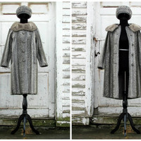 Hollywood Starlet/ 1950's French Couture/ Persian Lamb Coat Hat Set/ Glamorous Standing Collar/ Luxurious and Supple/ Vintage Mink Grey Hat