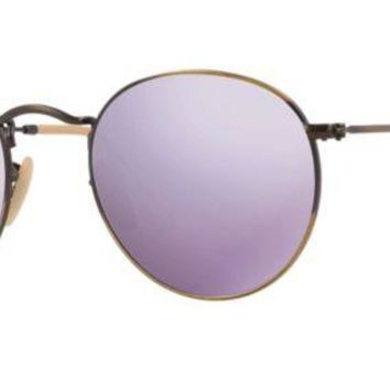 Ray Ban Round Sunglasses Bronze/Copper with Lilac (purple) Mirrored Lens RB 3447 167/4k
