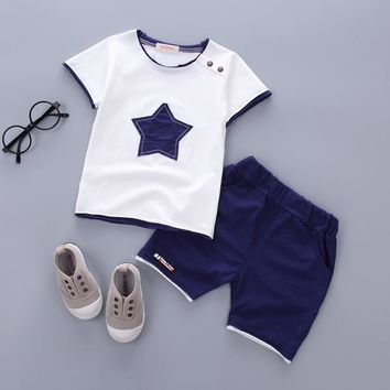 Boys clothing set 2017 Summer new fashion 100% cotton with five-star print for 1 2 3 Years old infant clothes 2pcs set A075