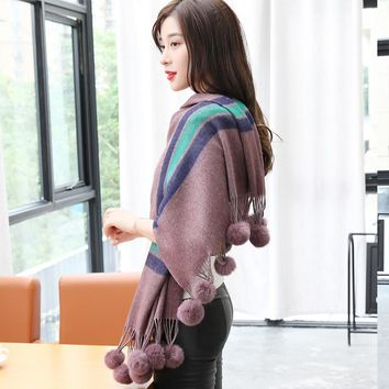 winter striped scarves and shawls for women oversized long blanket cape wrap poncho pendant ball pompom scarf tassels