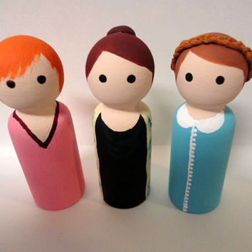 The Lizzie Bennet Diaries - Bennet Sisters Peg Dolls
