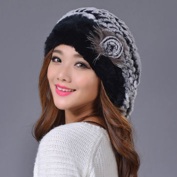Bailey Bounet Leather And Fur Beret Rex Rabbit's Hair Hats Woman Keep Warm women female Autumn And Winter cap skullies beanies