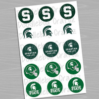"""Michigan State University Spartans - Printable Bottlecap Images - Instant Download 1"""" circles - 15 images - MSU"""
