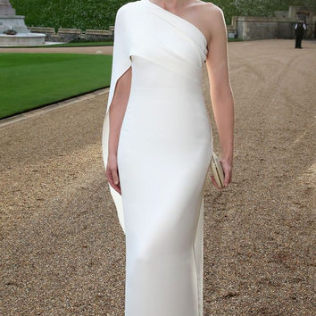 Slim Fitted Stretch White Evening Dress One Shoulder Elegant Long Gown