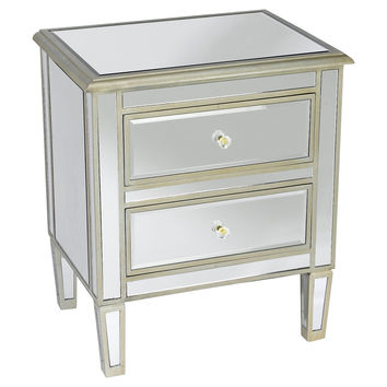Remy Mirrored Nightstand, Silver, Nightstands