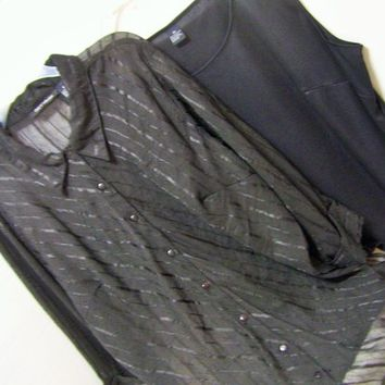 Rich Black, Burnout Design, Ribbon Design, Top Blouse Set, Plus Size, Special Evening, Club Z, Size 2X, Resort Cruise Wear, Dining