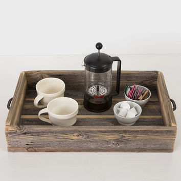 Reclaimed Wood Serving Tray With Metal Handles