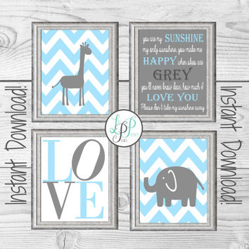 Blue and Grey Nursery Decor, Giraffe Nursery Wall Art, Elephant Nursery Print, You Are My Sunshine Print, Blue and Grey Baby Gift, New Baby