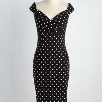 Lady Love Song Dress in Black Dots