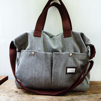 Gray Shoulder bag/Messenger bag/Diaper bag-Tote bag-large bag/ /Crossbody bag/2 pocket outside