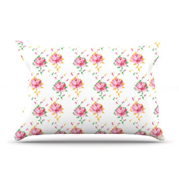 "Laura Escalante ""Cross Stitch Flowers"" White Pink Pillow Case"
