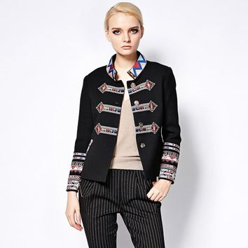 Trendy Punk Jackets Gothic Autumn-Winter New Fashion Coat Full Sleeve Geometric Flower Embroidery Turtleneck Black New Jacket Women AT_94_13