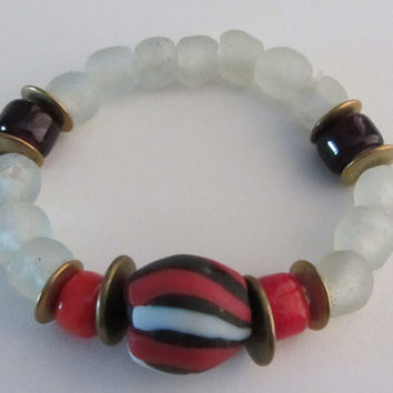 Ghanaian Bead Stretch Bracelet -  1 Lg 3 Color Krobo, Brass Discs, Whitehearts and Clear White Powder Glass Beads