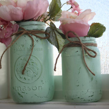 Set of Rustic Jars, Green Wedding Centerpieces, Painted Mason Jars, Cottage Chic Home Decor, Vintage style, Spa Decorations, Black Friday