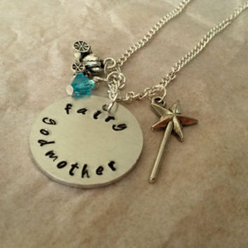 Cinderella themed Fairy godmother handstamped necklace