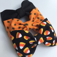Cute Halloween candy corn and tiny spider hair bow set from Seaside Sparrow Bows.  hair bows for girls hair bows for teens bows toddler bows
