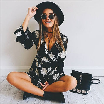 Black Floral Print V-Neck Bell Long Sleeve A-Line Dress