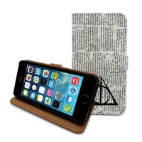 "Beanbeancase Deathly Hallows Harry Potter Flip Leather Wallet Case for iPhone 6 Plus 5.5"" (L15) (Newspaper)"