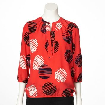 Dana Buchman Printed Pleated Top