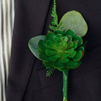 Spring Silk Succulent Boutonniere with Fern Accent