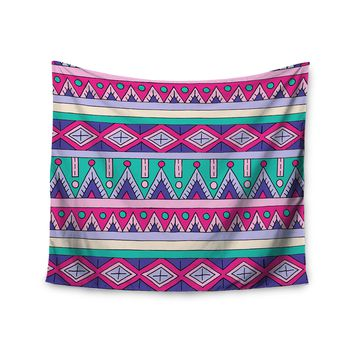 "KESS InHouse Sarah Oelerich ""Teal Tribal"" Pink Purple Wall Tapestry, 68"" X 80"""""