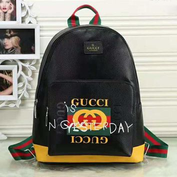 GUCCI New fashion letter graffiti print leather high capacity backpack bag Black