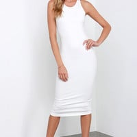 Glamorous Basic Requirement Ivory Bodycon Midi Dress