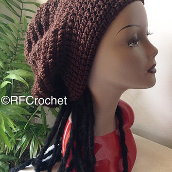 XL Black Slouchy Beanie | Dreadlocks  | Bad Hair Day | Adult Beanie | Men | Women |  Teen | Curly Hair | Braids | Locs | Rasta Tam | Oversiz