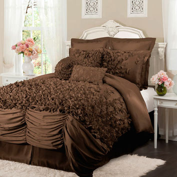 Lush Decor C07402P13 Lucia Four Piece Chocolate Comforter Set King - (In No Image Available)