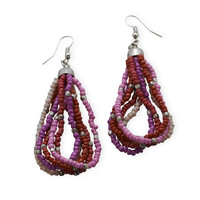 Pink and Red Multistrand Beaded Fashion Earrings