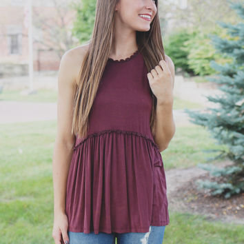 Desert Oasis Top - Burgundy