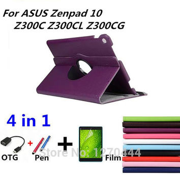 360 Rotating Litchi skin Leather smart cases cover for ASUS Zenpad 10 Z300 Z300C Z300CL Z300CG Tablet PC for asus Z300 10 cover