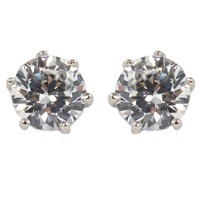 CLASSIC 1ct Silver Stud Clip On Earring