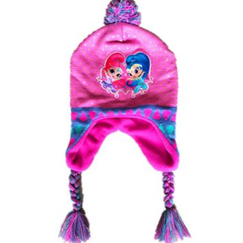 2017 Shimmer And Shine Knitted Cute Hat Hoodies For Girls Long Braid With Earmuffs For Baby Girl Winter Spring Beanies Cap Gifts