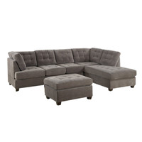 Brayden Studio Aedesia Piece Waffle Suede Sectional Sofa with Square Stitching Pattern & Reviews | Wayfair
