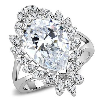 A Perfect 6CT Pear Cut Solitaire Russian Lab Diamond Halo Engagement Ring